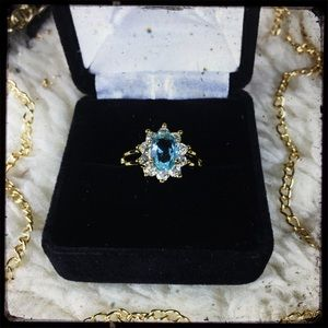 Jewelry - *NWT* - Stunning Blue Topaz & CZ Gold-Plated Ring